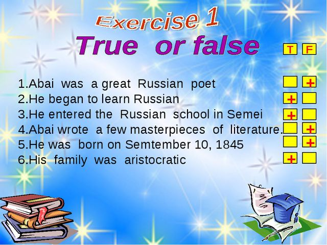 1.Abai was a great Russian poet 2.He began to learn Russian 3.He entered the...