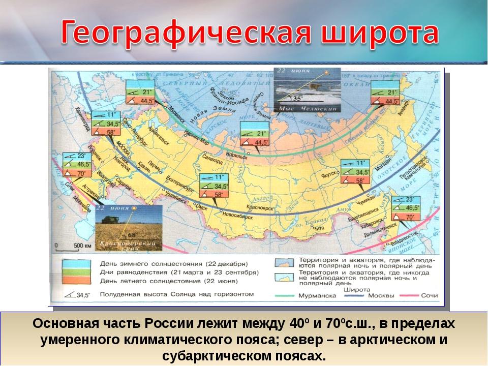 Основная часть России лежит между 40º и 70ºс.ш., в пределах умеренного климат...
