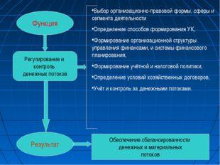 Функция Результат Регулирование и контроль денежных потоков Выбор организацио