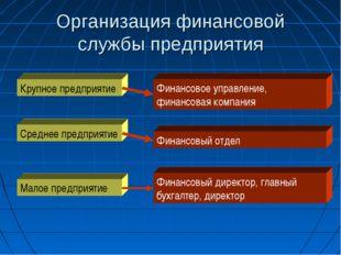 Организация финансовой службы предприятия Крупное предприятие Среднее предпри