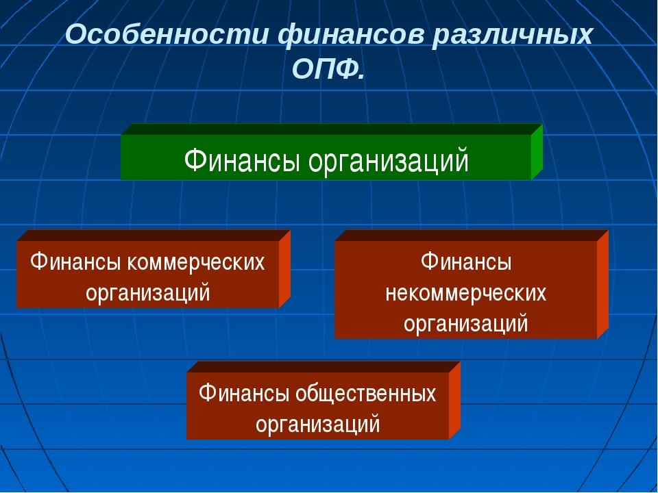 Особенности финансов различных ОПФ. Финансы организаций Финансы коммерческих...