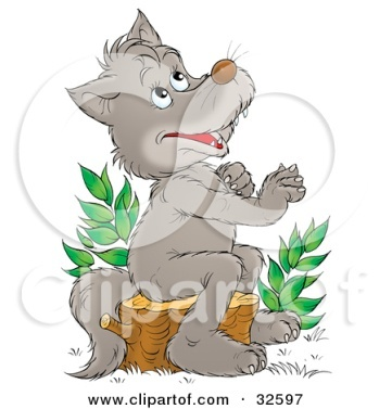 C:\Users\ЛЕХА\Downloads\32597-Clipart-Illustration-Of-A-Happy-Gray-Wolf-Sitting-On-A-Tree-Stump-And-Looking-Upwards-As-If-Praying.jpg
