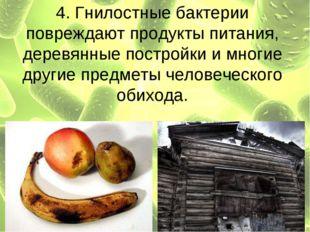 4. Гнилостные бактерии повреждают продукты питания, деревянные постройки и мн