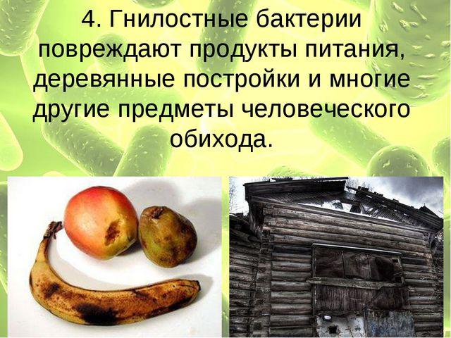 4. Гнилостные бактерии повреждают продукты питания, деревянные постройки и мн...