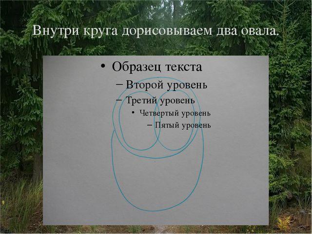 Внутри круга дорисовываем два овала.