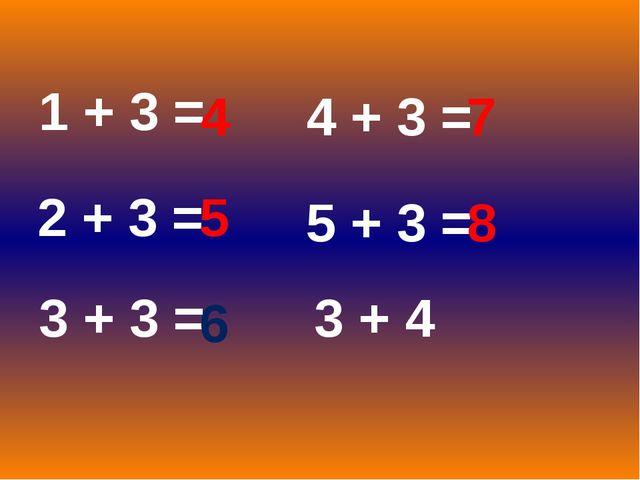 1 + 3 = 2 + 3 = 3 + 3 = 4 + 3 = 5 + 3 = 3 + 4 4 5 6 7 8