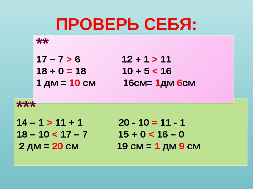 ПРОВЕРЬ СЕБЯ: *** 14 – 1 > 11 + 1 20 - 10 = 11 - 1 18 – 10 < 17 – 7 15 + 0 <...