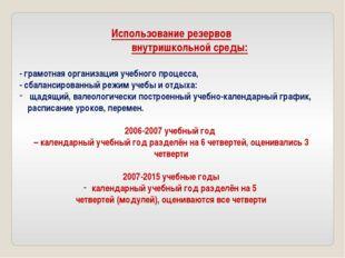 Использование резервов внутришкольной среды: - грамотная организация учебного