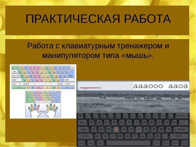 ПРАКТИЧЕСКАЯ РАБОТА Работа с клавиатурным тренажером и манипулятором типа «мы...