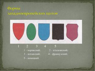 1 2 3 4 5 1 – варяжский; 2 – итальянский; 3 – испанский; 4 – французский; 5 –