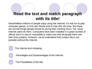 Read the text and match paragraph with its title! Nevertheless millions of pe
