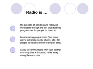 Radio is … the process of sending and receiving messages through the air; bro