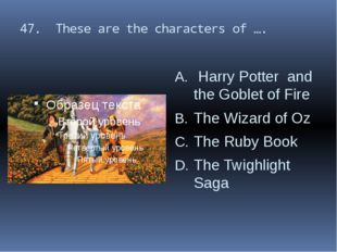 47. These are the characters of …. Harry Potter and the Goblet of Fire The Wi