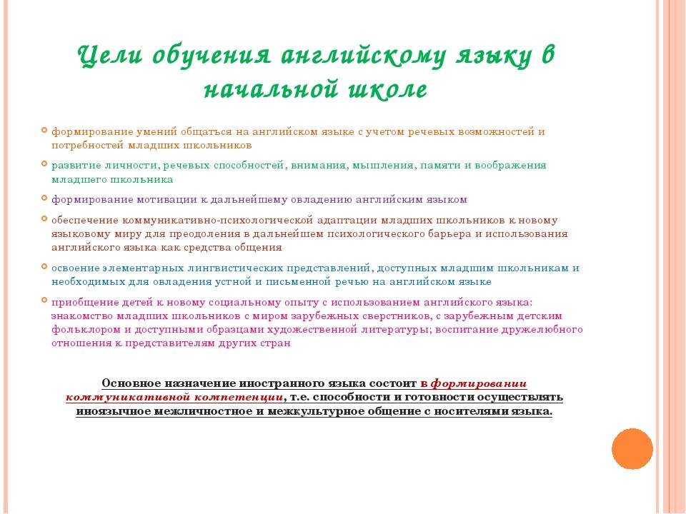 Цели обучения английскому языку в начальной школе формирование умений общатьс...