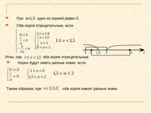 При a=1,5 один из корней равен 0. Оба корня отрицательные, если Итак, при об