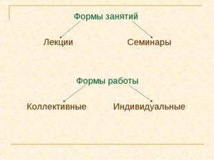 Формы занятий Лекции Семинары Формы работы Коллективные Индивидуальные