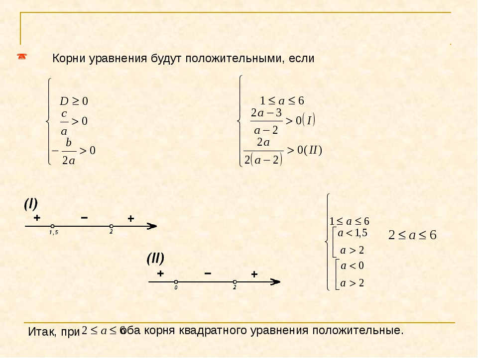 Корни уравнения будут положительными, если Итак, при оба корня квадратного у...