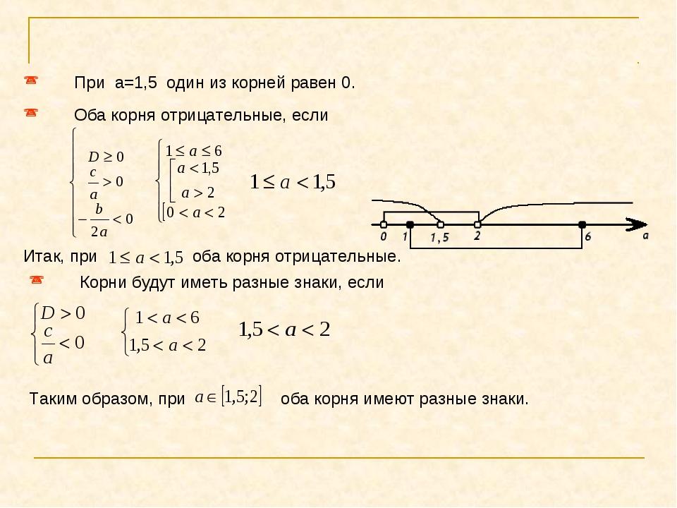 При a=1,5 один из корней равен 0. Оба корня отрицательные, если Итак, при об...