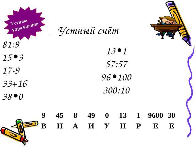 Устный счёт Устные упражнения 81:9 15•3 17-9 33+16 38•0 13•1 57:57 96•100 300...