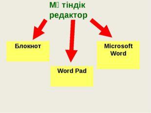 Мәтіндік редактор Блокнот Word Pad Microsoft Word