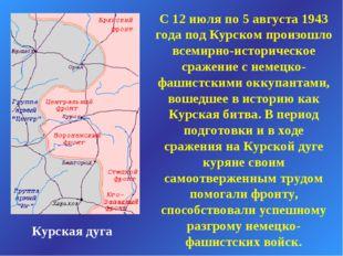 Курская дуга С 12 июля по 5 августа 1943 года под Курском произошло всемирно-