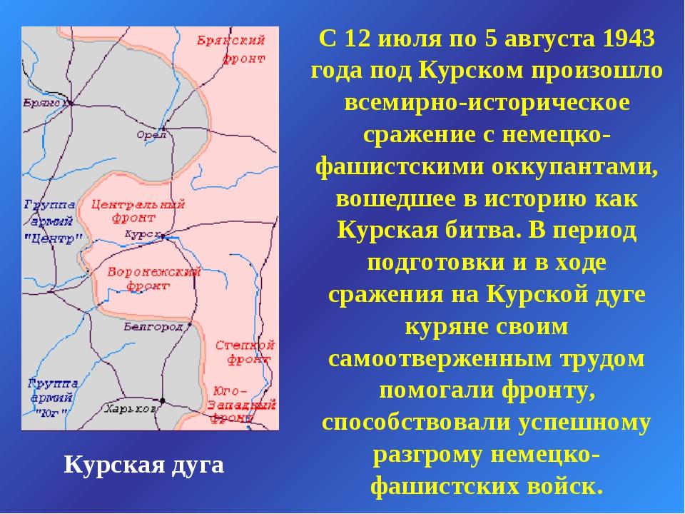 Курская дуга С 12 июля по 5 августа 1943 года под Курском произошло всемирно-...