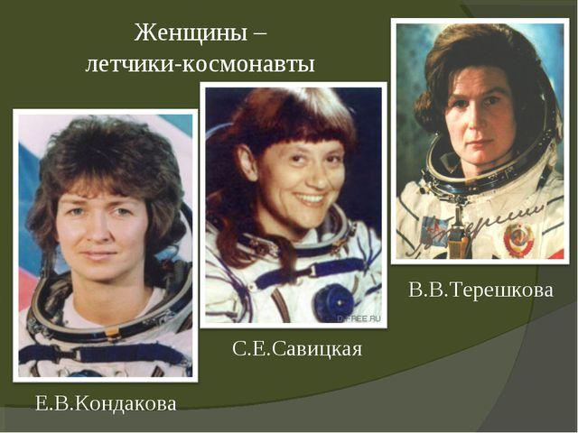 В.В.Терешкова С.Е.Савицкая Е.В.Кондакова Женщины – летчики-космонавты