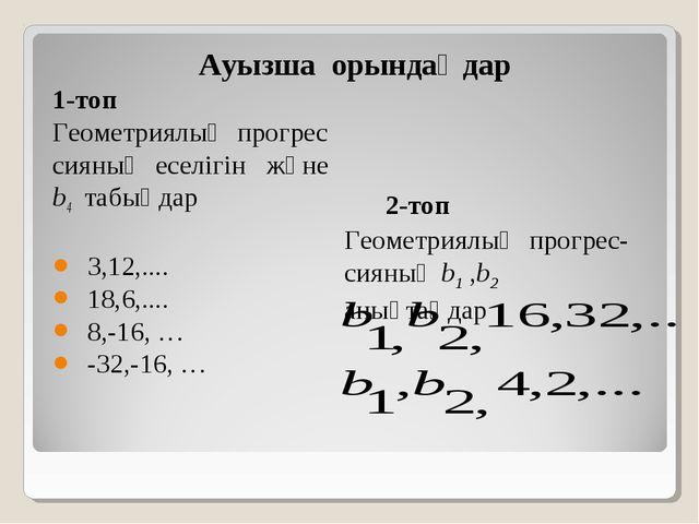 Ауызша орындаңдар 1-топ Геометриялық прогрес сияның еселігін және b4 табыңдар...