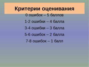 Критерии оценивания 0 ошибок – 5 баллов 1-2 ошибки – 4 балла 3-4 ошибки – 3 б