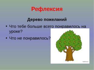 Рефлексия Дерево пожеланий Что тебе больше всего понравилось на уроке? Что не