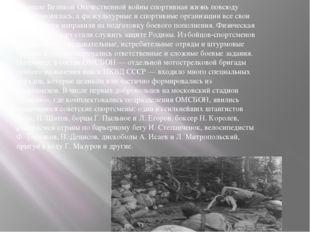 В начале Великой Отечественной войны спортивная жизнь повсюду приостановилась