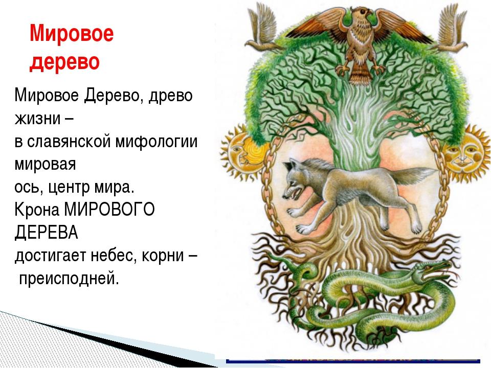 Мировое дерево Мировое Дерево, древо жизни – в славянской мифологии мировая о...