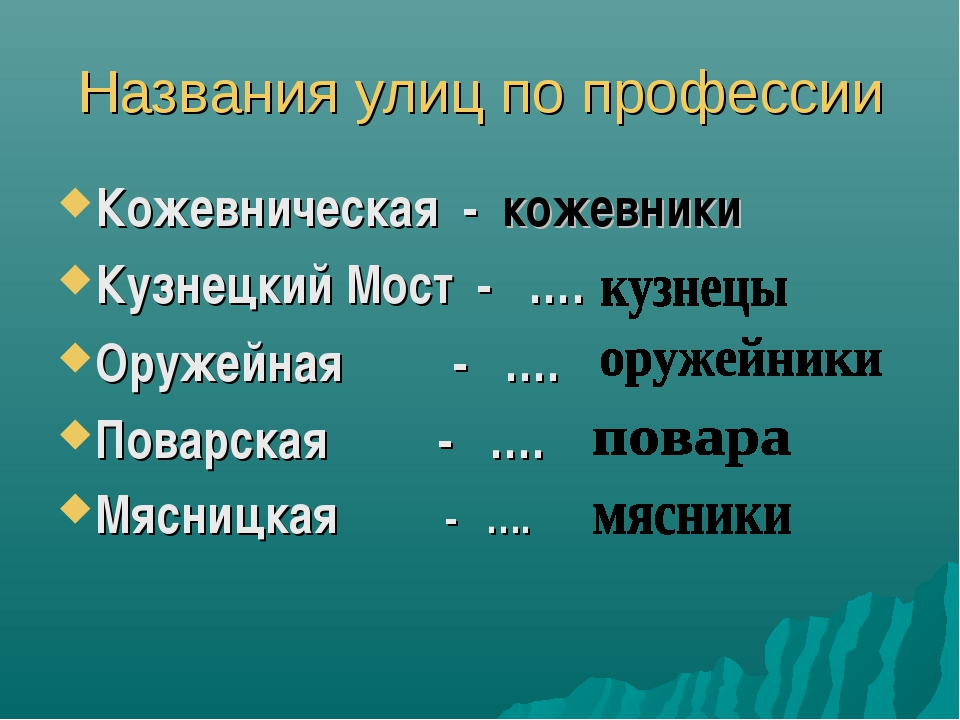 Названия улиц по профессии Кожевническая - кожевники Кузнецкий Мост - …. Оруж...