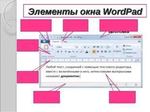 Элементы окна WordPad Строка заголовка Линейка Строка состояния Рабочее поле