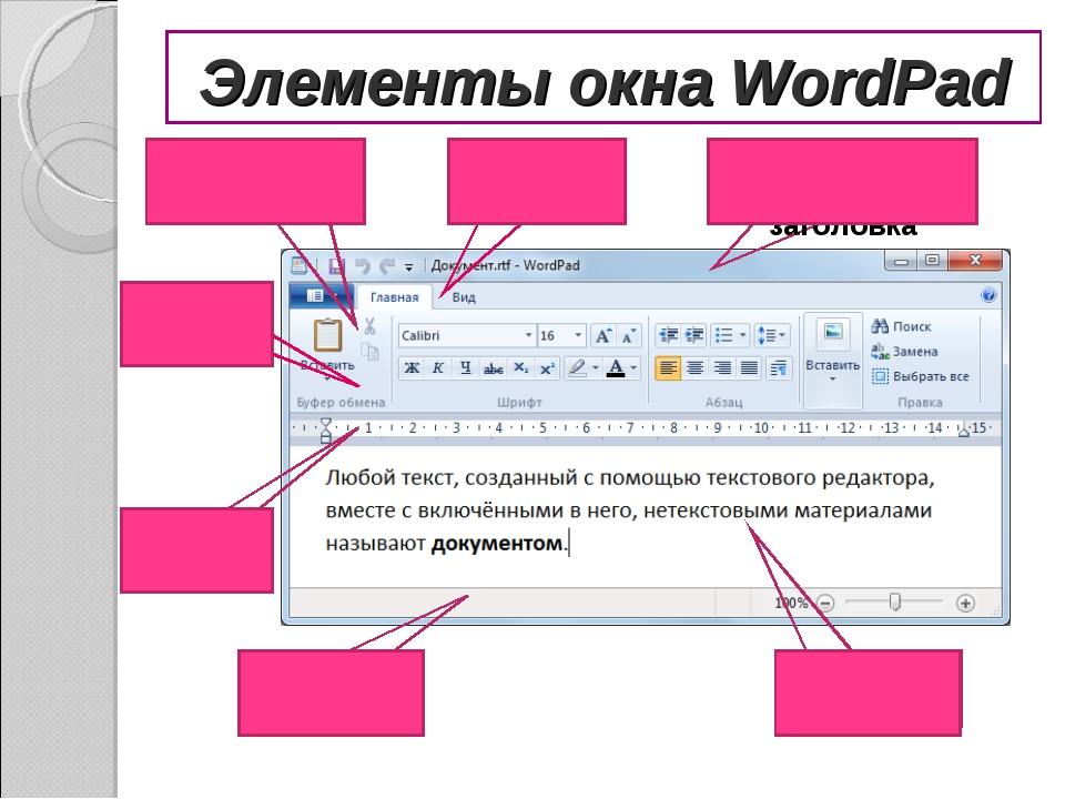 Элементы окна WordPad Строка заголовка Линейка Строка состояния Рабочее поле...
