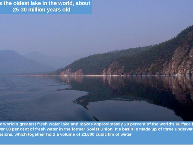 VolumeIt is the world's greatest fresh water lake and makes approximately 2...