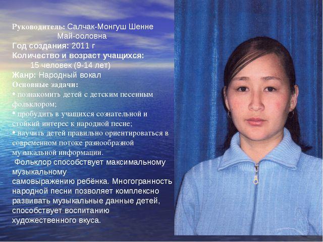 Руководитель: Салчак-Монгуш Шенне Май-ооловна Год создания: 2011 г Количество...
