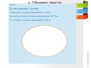ІІІ топ Дөгелек диаграмма құрастыру теміржолмен- жолаушы айналымының 11,4%-ы