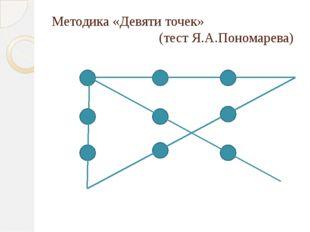 Методика «Девяти точек» (тест Я.А.Пономарева)