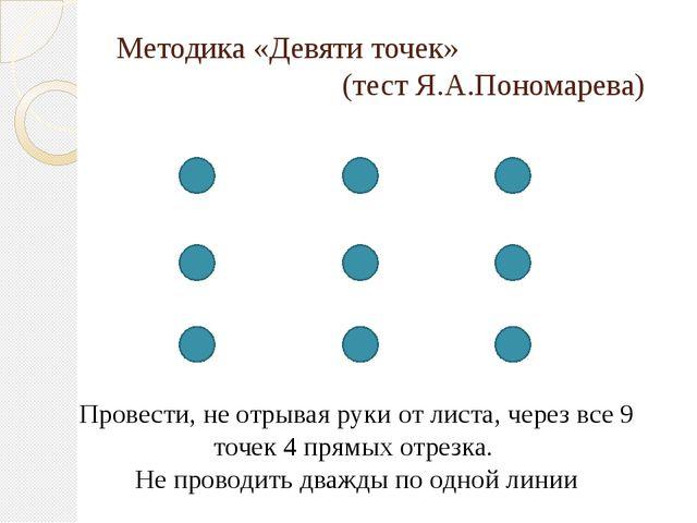 Методика «Девяти точек» (тест Я.А.Пономарева) Провести, не отрывая руки от ли...