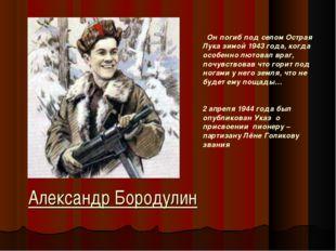 Александр Бородулин Он погиб под селом Острая Лука зимой 1943 года, когда осо