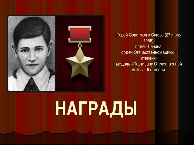 Герой Советского Союза (27 июня 1958); орден Ленина; орден Отечественной войн...