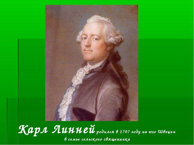 Карл Линней родился в 1707 году на юге Швеции в семье сельского священника