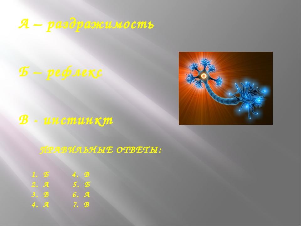 А – раздражимость Б – рефлекс В - инстинкт ПРАВИЛЬНЫЕ ОТВЕТЫ: 1. Б 4. В 2. А...