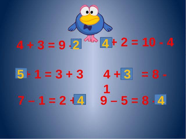 4 + 3 = 9 - + 1 = 3 + 3 7 – 1 = 2 + + 2 = 10 - 4 4 + = 8 - 1 9 – 5 = 8 - 2 5...