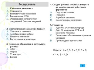 Ответы: 1 – B,D; 2 – B,C; 3 – B; 4 – A; 5 – A,D. Тестирование Клеточное дыхан