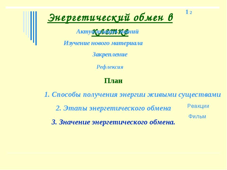 Энергетический обмен в клетке Актуализация знаний Изучение нового материала З...