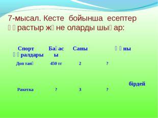 7-мысал. Кесте бойынша есептер құрастыр және оларды шығар: Спорт құралдарыБа