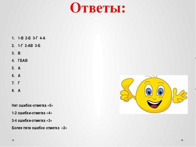 Ответы: 1-В 2-Б 3-Г 4-А 1-Г 2-АВ 3-Б В ГБАВ А А Г А Нет ошибок-отметка «5» 1-...