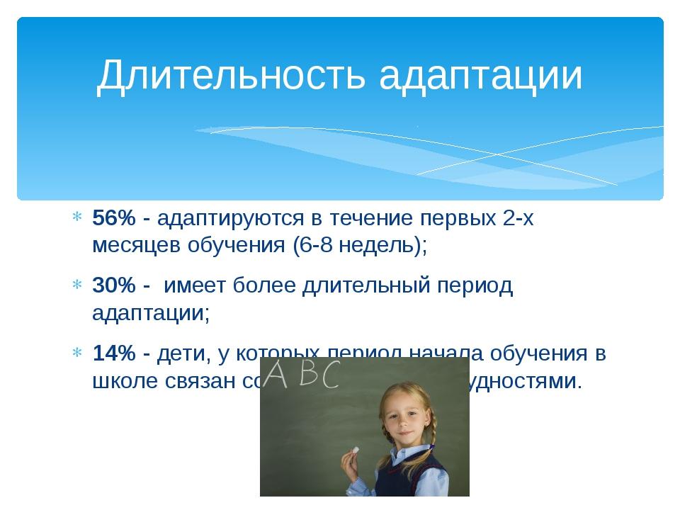 56% - адаптируются в течение первых 2-х месяцев обучения (6-8 недель); 30% -...
